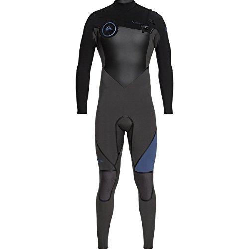(Quiksilver 3/2mm Syncro Plus Chest Zip Men's Wetsuits - Black/Jet Black/Cascade Blue/X-Large)