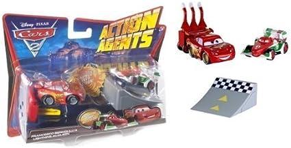 Amazon Com Mattel Disney Pixar Cars 2 Action Agents Francesco Bernoulli Lightning Mcqueen Veh Toys Games