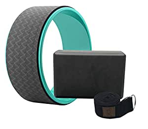 Tiiyar Yoga Kit - Yoga Wheel Yoga Block and Strap Set with E-Book Guide (Black)