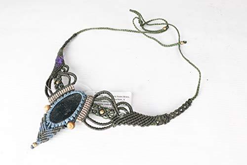 Handmade Macrame Necklace Chick Pendant Jewelry Moss Agate Stone Cord ()