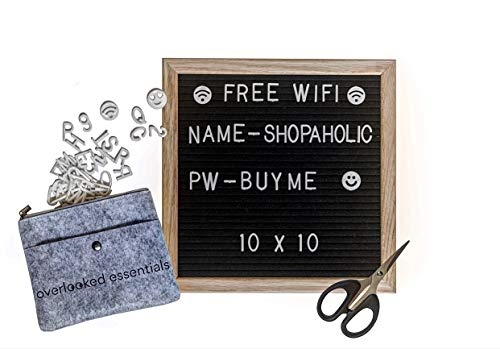Black Felt Letter Board (White Letters) - Classy Oak Frame Message Board 10x10 - Perfect for Home & Office - Leave cute messages, quotes, reminders, humor - 360 characters, scissors, zip bag, and file by Overlooked Essentials