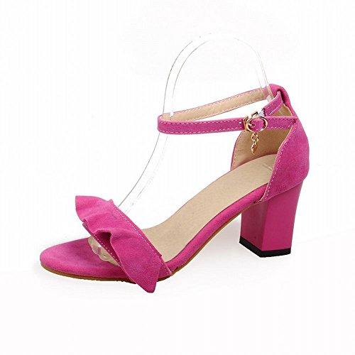 Carol Skor Nåd Womens Spänne Mode Ankel-rem Chic Chunky Högklackade Sandaler Röd Ros