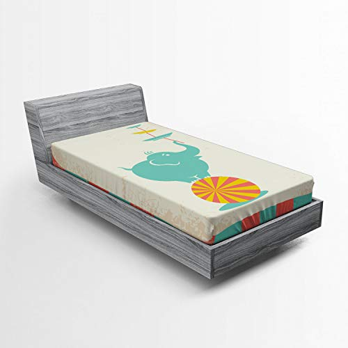 Ambesonne Circus Fitted Sheet, Grungy Background with Rays of Beams and Elephant Holding Plates Standing in Balance, Soft Decorative Fabric Bedding All-Round Elastic Pocket, Twin XL Size, Multicolor