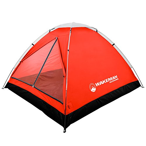 2-Person Tent, Water Resistant Dome Tent for Camping With Removable Rain Fly And Carry Bag, Lost River 2 Person Tent By Wakeman Outdoors (Red/Gray)