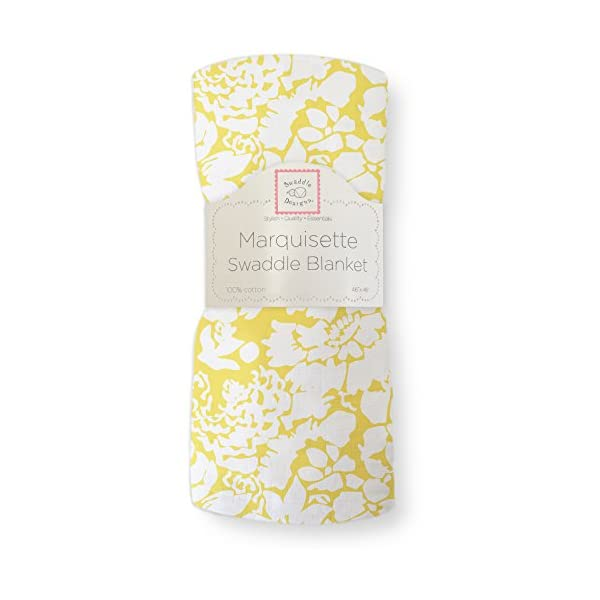 SwaddleDesigns Marquisette Swaddling Blanket, Premium Cotton Muslin, Yellow Lush