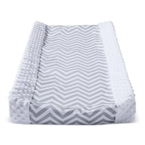 Wipeable Changing Pad Cover Grey/White with Plush Sides Chevron