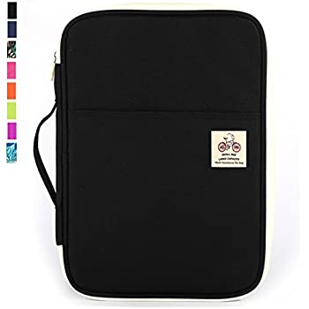 JAKAGO Travel Portfolio Waterproof Oxford Fabric Carrying Case Pad Holder Sleeves Business Portfolio Resume Padfolio Passport & Travel Document Holder and ...