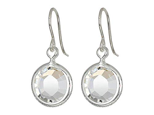 Alex and Ani Women's Swarovski Color Code Earrings April Clear Crystal, Shiny Silver, One Size