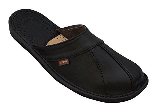 BeComfy Herren Hausschuhe Leder (Kalbsleder) Pantoffeln Schwarz Geschenkkarton (Wahlweise) Modell MI09 Schwarz