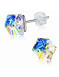 """J.Rosée Small Earrings, Cube Crystals 925 Sterling Silver Stud Earrings Girl Daughter Gifts """"Twinkling Star"""""""