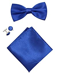 Mens Solid Stain Pre-tied Tuxedo Bow Tie Cufflinks Pocket Square Set By JAIFEI (Royal Blue)