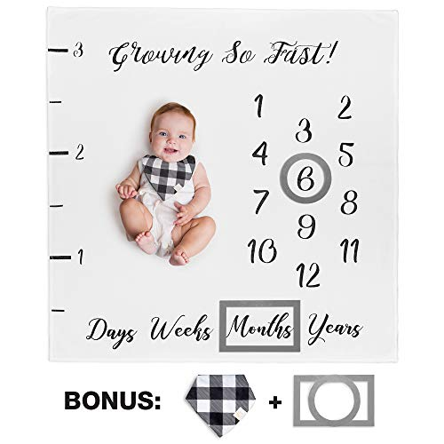 (Baby Monthly Milestone Blanket for Boy Girl Unisex | Neutral Personalized Photography Background Blankets | Thick Fleece for Mom Newborn Baby Shower Gifts + Bandana Drool Bib + 2 Months Frame Markers)