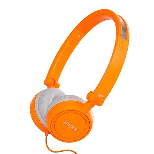 Edifier H650 Hi-Fi On-Ear Headphones - Noise-isolating Foldable and Lightweight Headphone - Fit Adults and Kids - (Orange Dj Headphones)