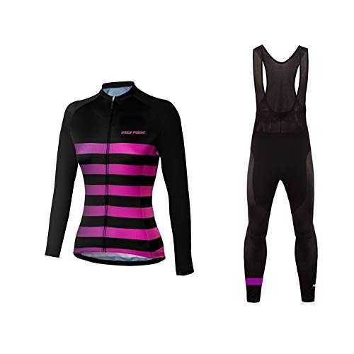- Uglyfrog Fall Lady's Long Sleeve Cycling Jersey + Bib Pants with Padded Biking Tights