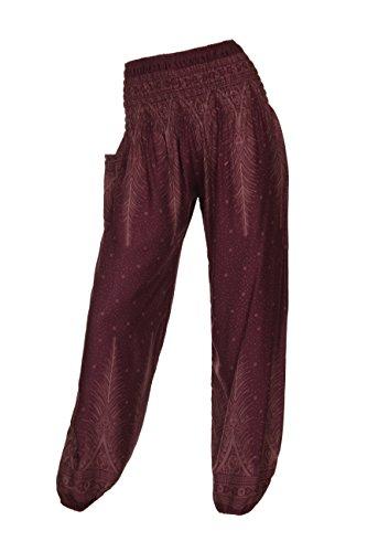 pantaloni diversi HIPPIE con ALADDIN Peacock motivi 18 2 HAREM Wine pantaloni q0wpHH