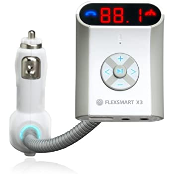 GOgroove FlexSMART X3 Bluetooth FM Transmitter Car Kit with Hands-free Calling , Audio Playback and USB Charging - Works with Apple iPhone , Android , Tablets , MP3 Players and more Bluetooth Devices