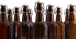 Healthy Harvest Half Liter (.5L) Glass Bottle - Homebrewing, Kombucha, Glass Water Bottles, Beer Bottles, Antique Bottle Look-A-Likes and Restaurant Swing Top Bottles - Tight and Secure Caps {12 Pack}