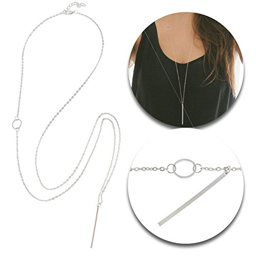 Trendy Silver Colored Sweater Necklace On Fine Long Chain With Bar Shape Pendant By VAGA
