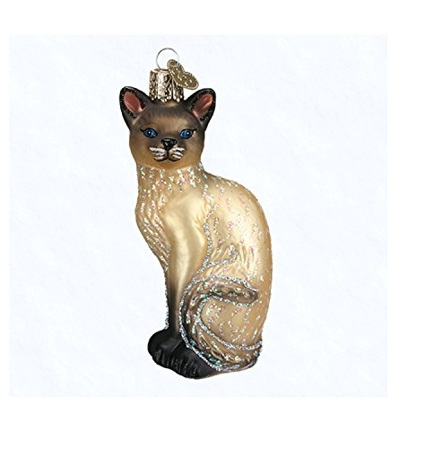 Old World Christmas Siamese Cat Glass Blown Ornament, Cream