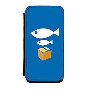 Diy iPhone 6 plus Big Fish, Little Fish Premium Faux PU Case, Protective Hard Cover Flip Case for iPhone 6 plus by Chargrilled