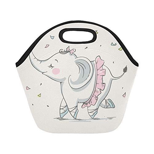 Insulated Neoprene Lunch Bag Cute Elephant Ballerina Cartoon