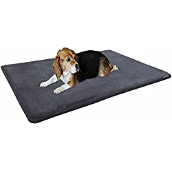 "Dogbed4less Premium Extra Large Gel-Infused Memory Foam Dog Bed Mat Pillow Topper, Fit XL 48""X30"" Crate, Waterproof Non Skid Bottom, Gray"