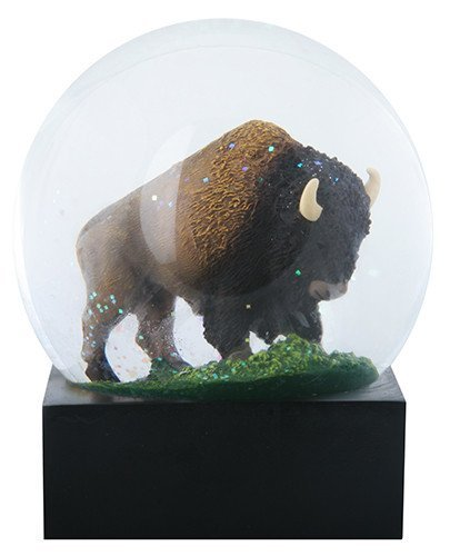 4.5 Inch Brown Two Horned Bison (Buffalo) Water Globe Standing