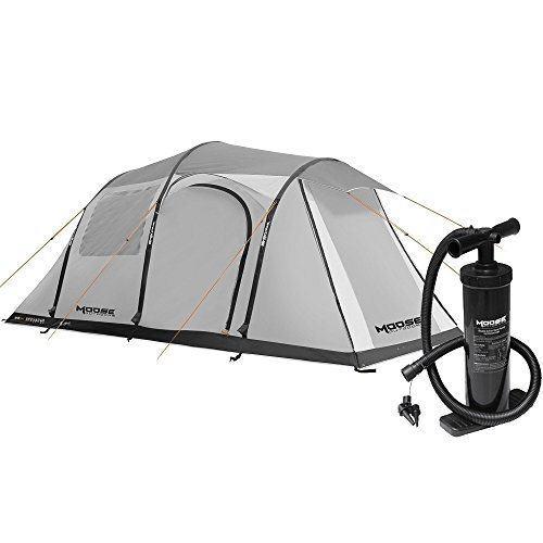 MOOSE OUTDOORS Inflatable Family Tent for 4 person for Camping ,Waterproof and Wind Resistant Camping Tents ,Instant Camping Tent Gray