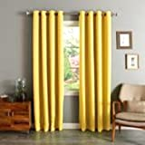 "Gorgeous Home *DIFFERENT SOLID COLORS & SIZES* (#72) 1 PANEL SOLID THERMAL FOAM LINED BLACKOUT HEAVY THICK WINDOW CURTAIN DRAPES BRONZE GROMMETS (BRIGHT YELLOW, 95"" LENGTH)"