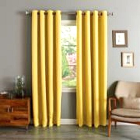 BLACKOUT HEAVY THICK WINDOW CURTAIN DRAPES BRONZE GROMMETS Bright Yellow