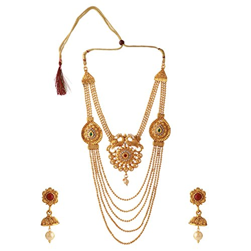 (Efulgenz Indian Bollywood Traditional Multi Layered 14 K Gold Plated Crystal Kundan Wedding Temple Necklace Earrings Jewelry Set)