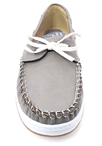 J-bebe Dames Bootschoenen Loafers Oxfords Deck Moc Sneaker Casual Zwart, Bruin, Grijs, Camel, Beige Grijs