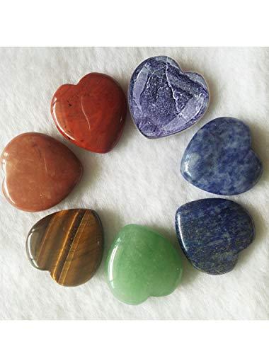 AMOYSTONE 7 Chakra Heart Shaped Stones 1