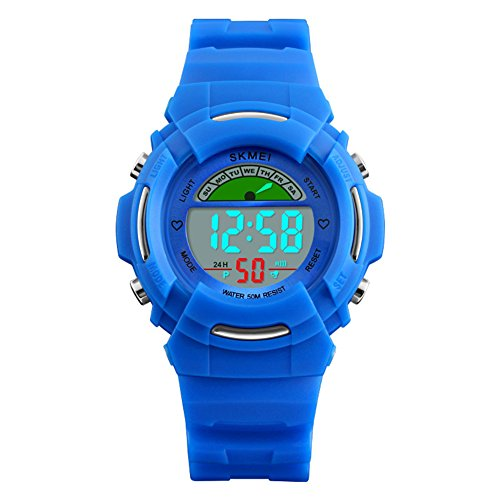 Boys and girls Sport watch,50m waterproof Digital stopwatch 24-hour instruction Alarm Calendar Luminous Outdoor Multifunction Adolescent [child] Chronograph stopwatch-B by FXBNHDFMF