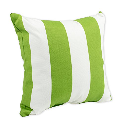 Cabana Pillow Stripe (Cabana Cirtrus Lime Green and White Stripe 16 x 16 Indoor Outdoor Throw Pillow)