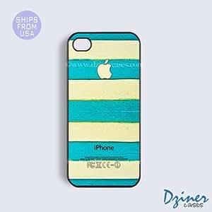 iPhone 4 4s Case - Blue Cream Wood Print Design iPhone Cover