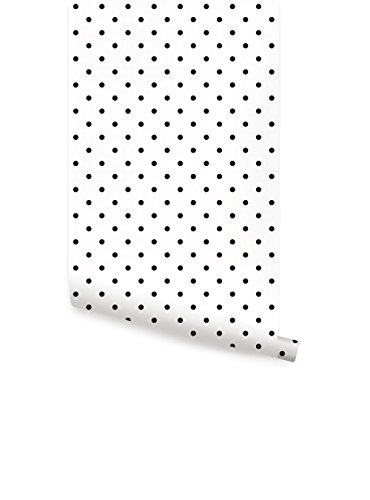 White Polka Dots Wallpaper - Small Polka Dots Wallpaper - Peel and Stick - by Simple Shapes (single sheet 2ft x 4ft)