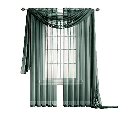 Warm Home Designs Pair of Extra Long Length Charcoal Olive (Dark Green Mixed with Charcoal) Sheer Window Curtains. Each Voile Drape is 56 X 108 Inches. 2 Fabric Panels. Color: Charcoal Olive 108 ()