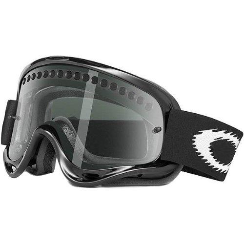 Oakley MX O Frame Adult Dirt Off-Road/Dirt Bike Motorcycle Goggles Eyewear w/ Free B&F Heart Sticker Bundle - Jet Black/Dark Grey / One Size Fits All