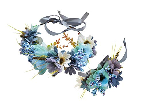 Dusty Halloween Costume (Flower Wreath Crown Boho Flower Headband Hair Garland Floral Headpiece Halo with Wrist Wedding Party Festival Photos Blue by)