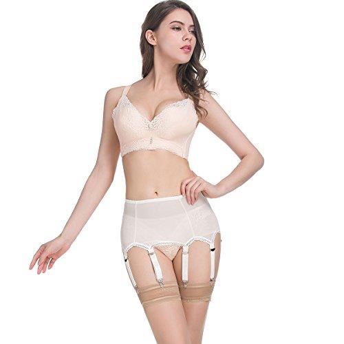 a002b6e5200 LIXFDT Women s Ivory Vintage Garter Belt 6 Strap Metal Clip Mesh Suspender  Belt for Stockings