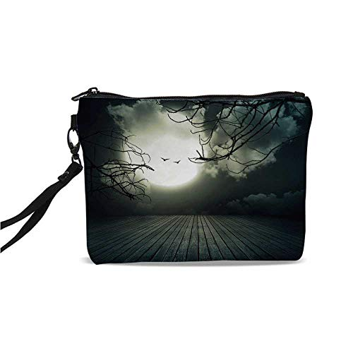 Halloween Simple Cosmetic Bag,Wooden Planks Floor with Leafless Branches and Blurred Full Moon Mysterious Decorative for Women,9