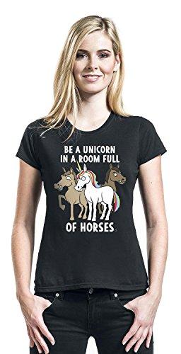 Goodie Two Sleeves Be A Unicorn Camiseta Mujer Negro Negro