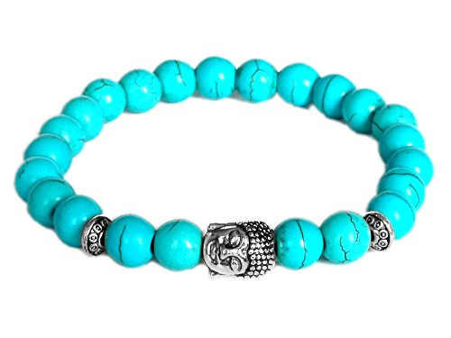 - Blacksmith Silver Buddha Bracelet for Women & Men - Turquoise
