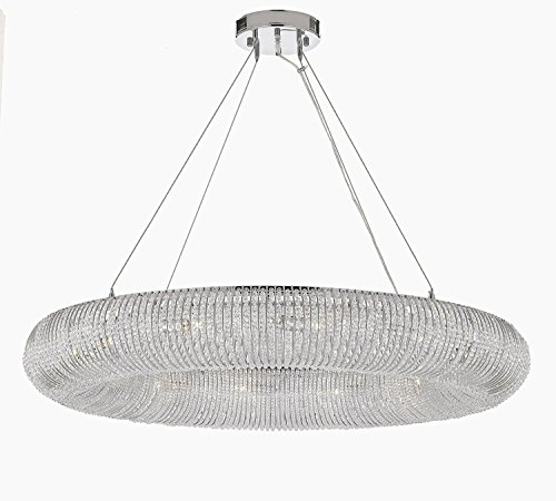 Crystal Halo Chandelier Modern / Contemporary Lighting Floating Orb Chandelier 60″ Wide – Good for Dining Room, Foyer, Entryway, Family Room and More!