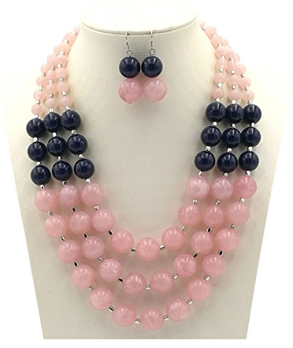 Pearl Acrylic Necklace (Shineland Elegant 3-Row Layered Handmade Acrylic Glass Pearl Stone-simulated Beaded Necklace Earrings Set (Style # 2(pink)))