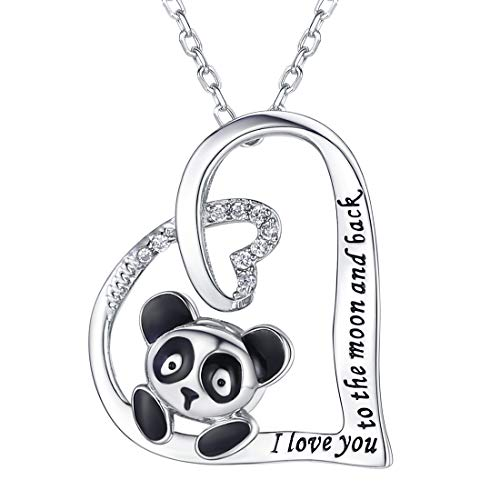 SILVERCUTE Girls Cute Piggy Jewelry 925 Sterling Silver Engraved I Love You to The Moon and Back Delicate Hollow Heart Pendant Necklace (Panda Bear)