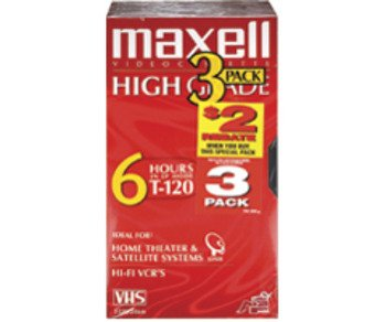 Prem. High-Grade videocassettes- 120 Minutes Case Pack 3 by Maxell