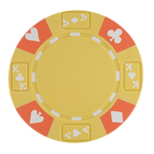 Brybelly Ace King Suited Poker Chip Heavyweight 14-gram Clay Composite – Pack of 50 (Yellow) - Poker Clay Pro Poker