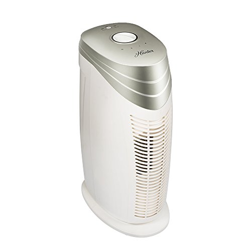 Hunter HT1702 Air Purifier with ViRo-Silver Pre-filter and HEPA+ Filter, for Allergies, Germs, Mold, Dust, Pets, Smoke, Pollen, Odors, for Medium Rooms, 18-Inch Champagne/White Air Cleaner